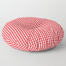 Small Snow White and Christmas Red Gingham Check Plaid Floor Pillow
