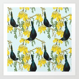 Tuis in the Kowhai Flowers Art Print