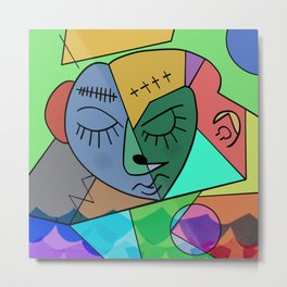 Sleepy Face Metal Print