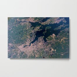 Providence, Newport, Narragansett Bay, Rhode Island Satellite Photograph Metal Print
