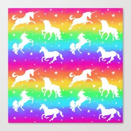 Rainbow Unicorn Happy-Fun-Time Canvas Print