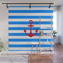 Red Anchor on Navy Blue Stripes Wall Mural