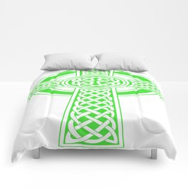 St Patrick's Day Celtic Cross Green and White Comforters