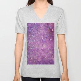 Sparkly Pinky Purple Aura Crystals Unisex V-Neck