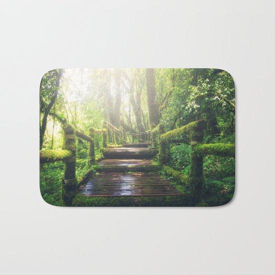 Green Jungle Forest Path Bath Mat