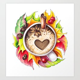 Fall and cup of coffee Art Print