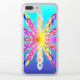 Solar Power Mandala (turquoise-sky blue background) Clear iPhone Case