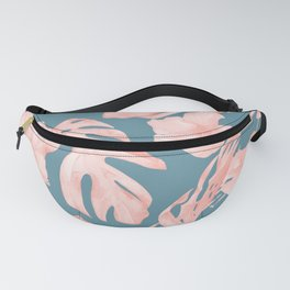 Tropical Palm Leaves and Hibiscus Pink Teal Blue Fanny Pack