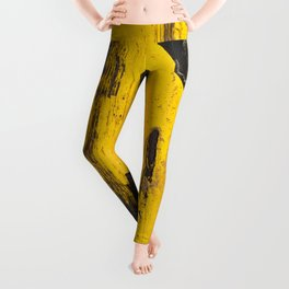 black numbers on yellow background Leggings