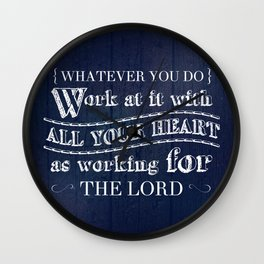 Work with All Your Heart - Colossians 3:23 Wall Clock
