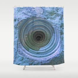 Mysterious Hole in Mountainside: Aqua Version Shower Curtain