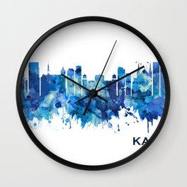 Karachi Pakistan Skyline Blue Wall Clock