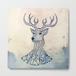 Reindeer Illustration -  Vintage Christmas Theme Metal Print
