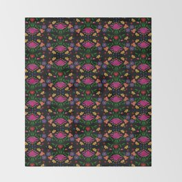 Colorful Mexican Embroidery Throw Blanket