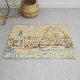 """Paul Signac """"La Rochelle, bateaux pavoisés"""" Rug"""