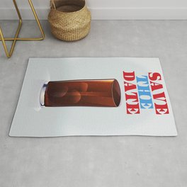 Save the date vintage soda ad. Rug