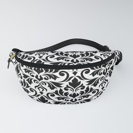 Flourish Damask Art I Black on White Fanny Pack