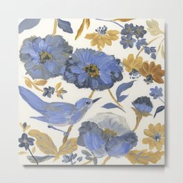 Blue and Yellow Flowers with Bird Metal Print