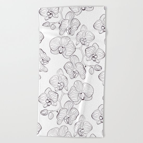 The White Orchid. Black and white pattern . Beach Towel