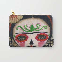 Frida The Catrina And The Skull - Dia De Los Muertos Mixed Media Art Carry-All Pouch