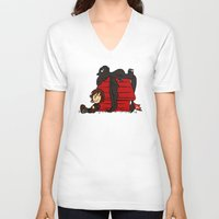 peanuts V-neck T-shirts featuring Dragon Peanuts by le.duc