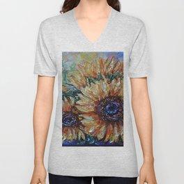 Countryside Sunflowers Palette Knife Unisex V-Neck