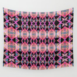Diamond Geometric Power Pattern in Broad Spectrum Pink Wall Tapestry