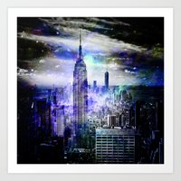 new york skyline Art Prints featuring New York Skyline by haroulita