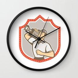 Cameraman Vintage Film Movie Camera Shield Wall Clock