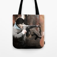 rocky Tote Bags featuring ROCKY by Erased Account
