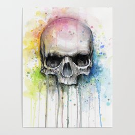 Skull Rainbow Watercolor Poster