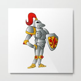 Cartoon knight. Metal Print