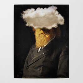 The inability of men with golden faces to be photographed without cloud. Poster