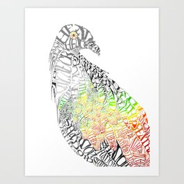 Tropical Bird Calligram Art Print