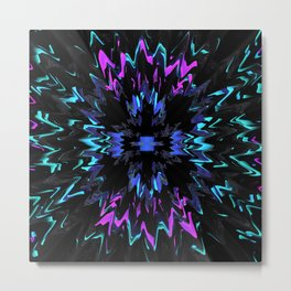 black, purple and blue waves and strips an elaborate pattern in strong Faben Metal Print