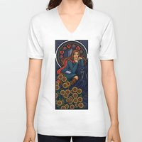 nouveau V-neck T-shirts featuring Pond Nouveau by Karen Hallion Illustrations