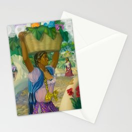 Vendedora de flowers hydrangea and calla lilies portrait by Alfonso Pena Stationery Cards