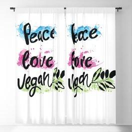 Peace love vegan Blackout Curtain
