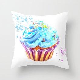Cupcake watercolor illustration Throw Pillow