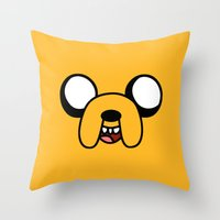 jake Throw Pillows featuring Jake by D-fens