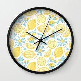 Lemon pattern White Wall Clock