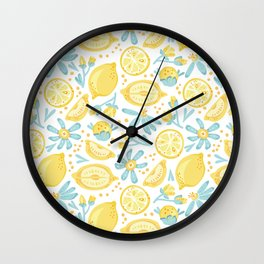 Lemon pattern White Wall Clock
