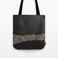 kaiju Tote Bags featuring kaiju (cropped) by thefleafarm (Amy Wright)