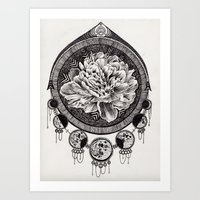moon phase Art Prints featuring Flower Phase  by Paula Savage