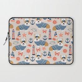 Corgi nautical sailor dog cute pet costume portrait welsh corgis Laptop Sleeve