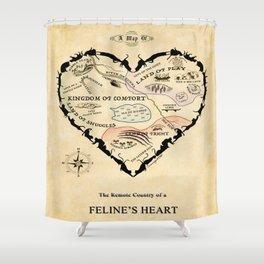 Feline Heart Map Shower Curtain