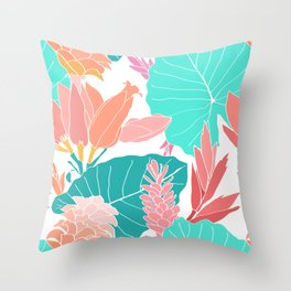Coral Ginger Flowers + Elephant Ears in White Throw Pillow