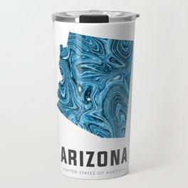 Arizona - State Map Art - Abstract Map - Blue Travel Mug