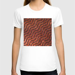 Red Glitter With Black Squiggle Pattern T-shirt