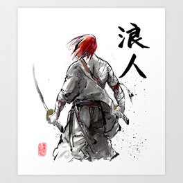Samurai Red Haired Ronin with calligraphy Art Print